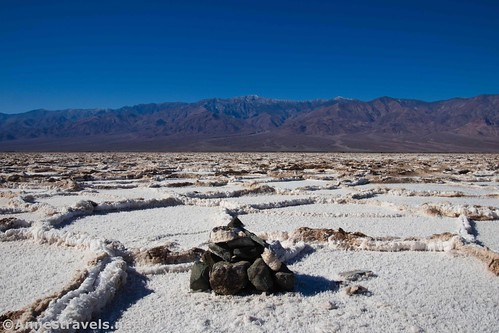 The cairn that marks the Lowest Point in North America!  Death Valley National Park, California