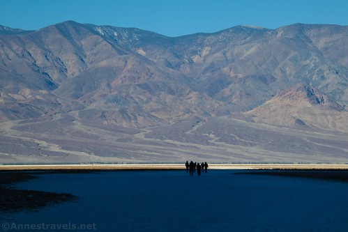 Hiking out toward the Badwater Salt Flats, Death Valley National Park, California