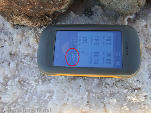 My GPS demonstrating that it really is -282ft.  Death Valley National Park, California