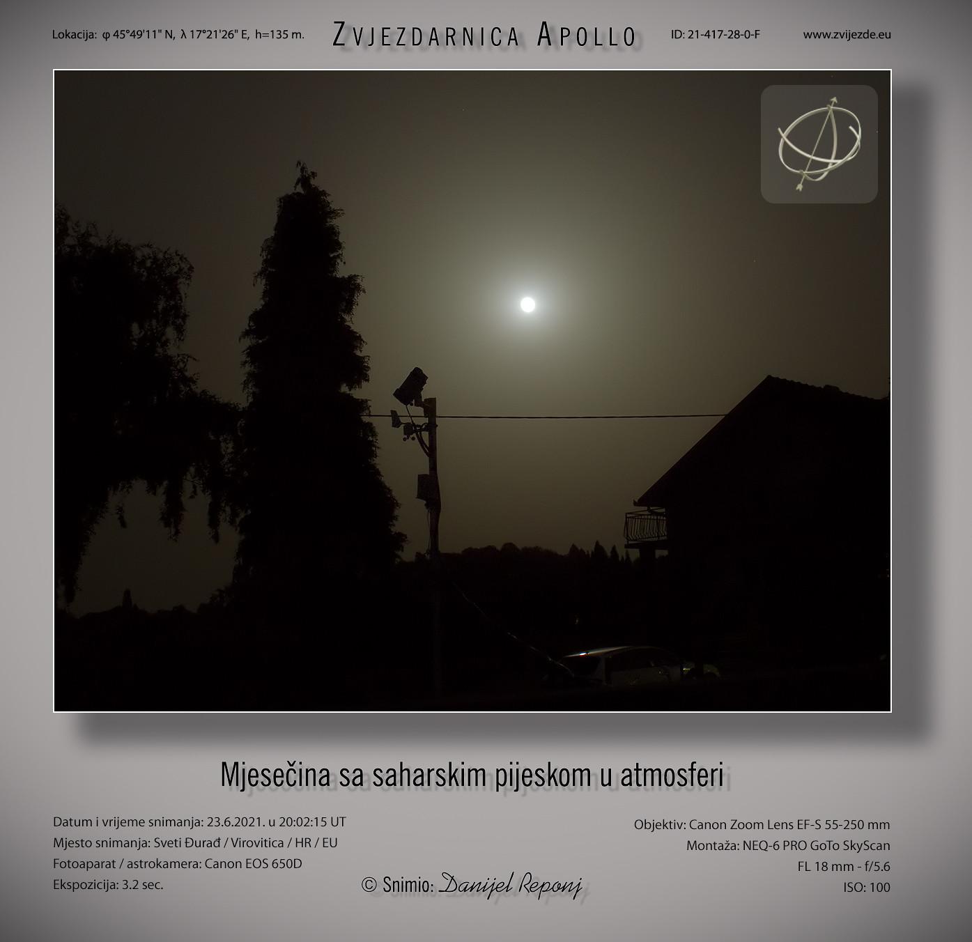 Mjesečina sa saharskim pijeskom u atmosferi, 23.6.2021.