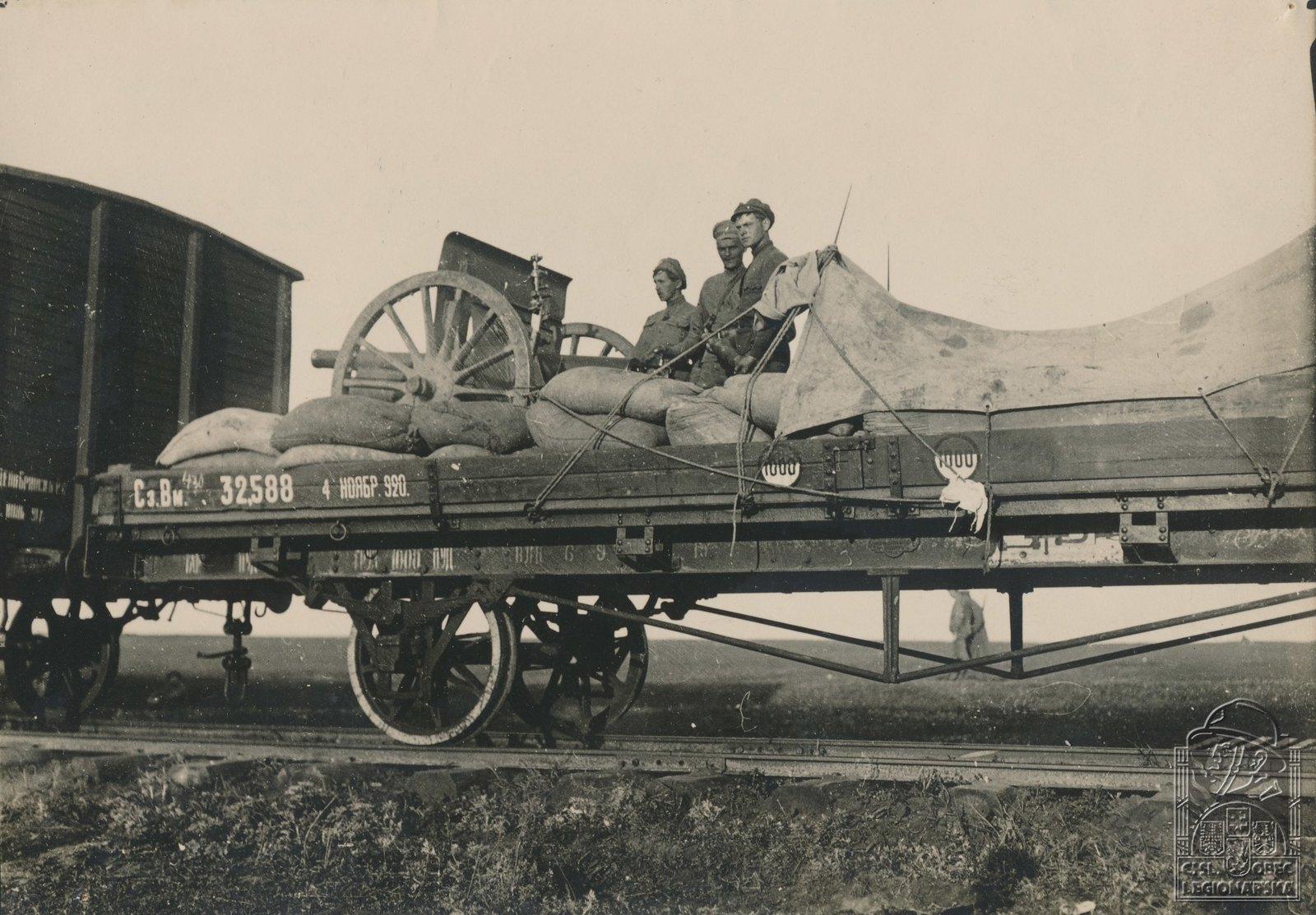 09. 1918. Наша легкая пушка перед Волжским мостом