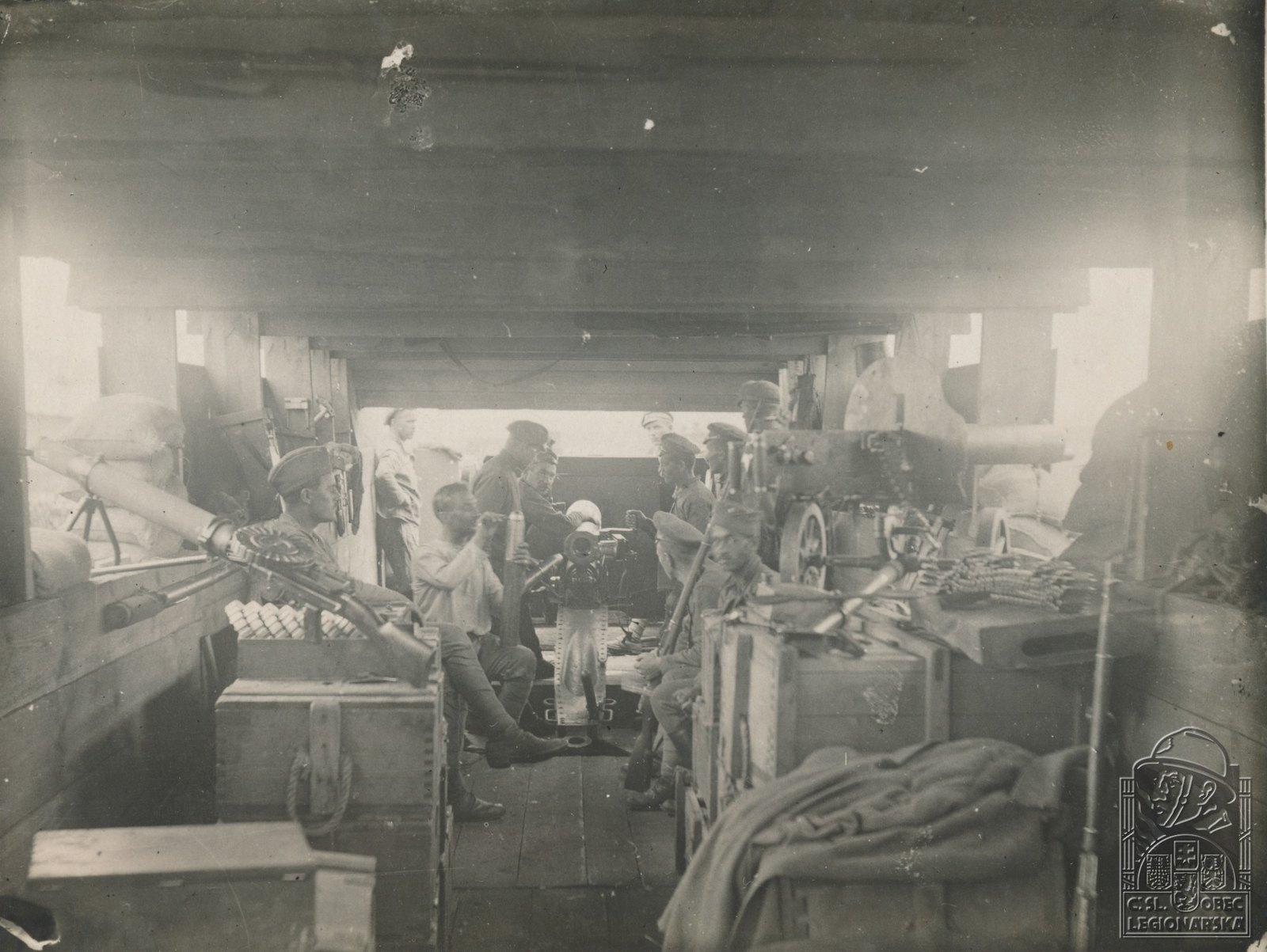 11. 1918. Вид вооружения  нашего бронепоезда в бою с большевиками