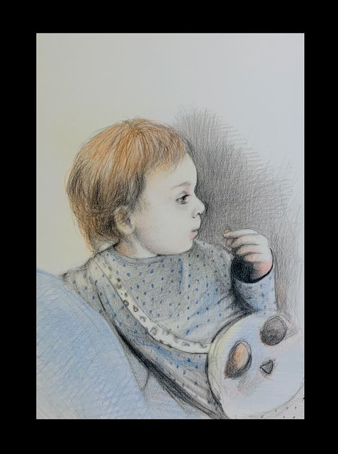 Last stage of 3. Portrait of The Great Granddaughter, Phoebe Worsfold eating Pom-Bear crisps. Graphite and Coloured pencil only drawing by jmsw, on card.