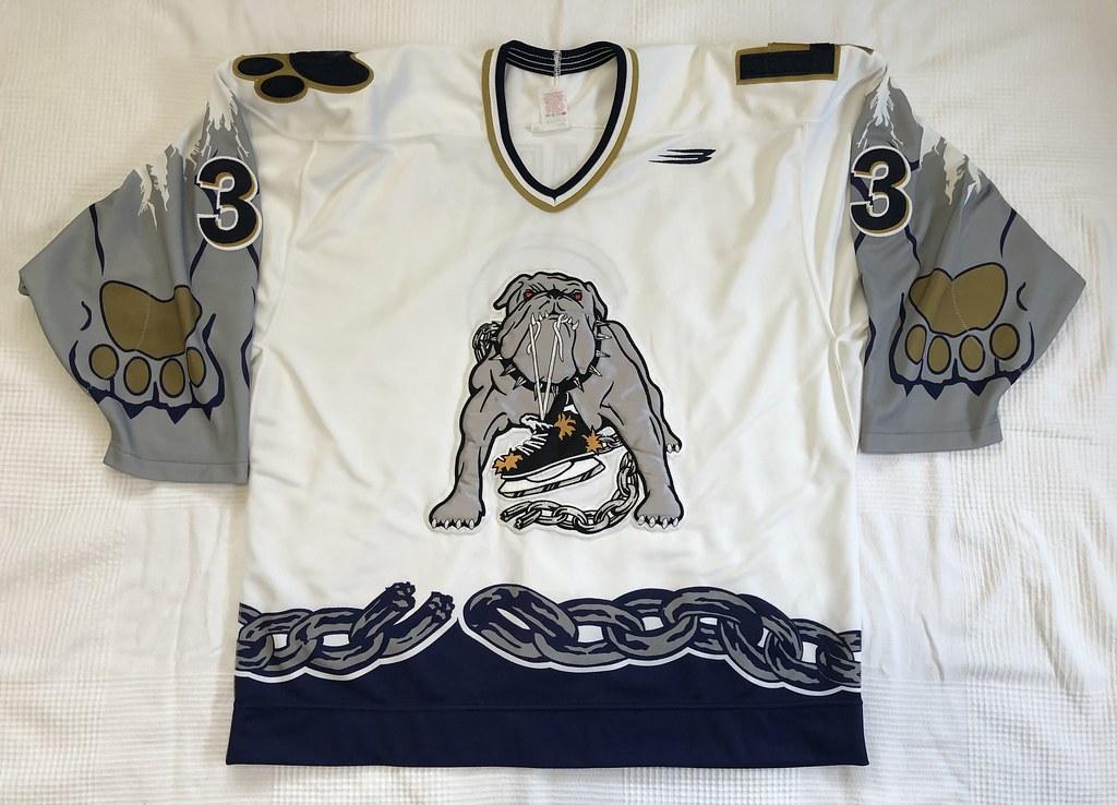 1999-2000 Zarley Zalapski Long Beach Ice Dogs Authentic Home Jersey Front