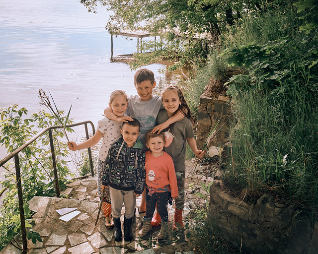 Children by the Moskva River in early summer
