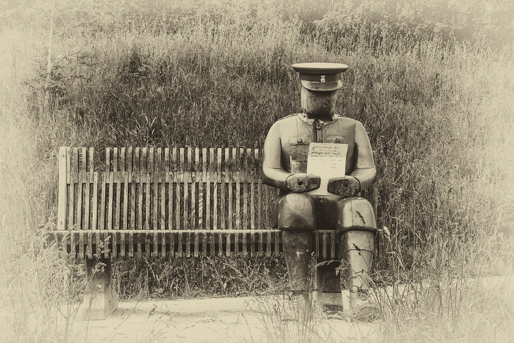 2021 - 06 - 24 - EOS 600D - Letters from Home - WW1 Soldier - Wooden Sculpture - Wales Coast Path - Dee Estuary - Flintshire - 1100