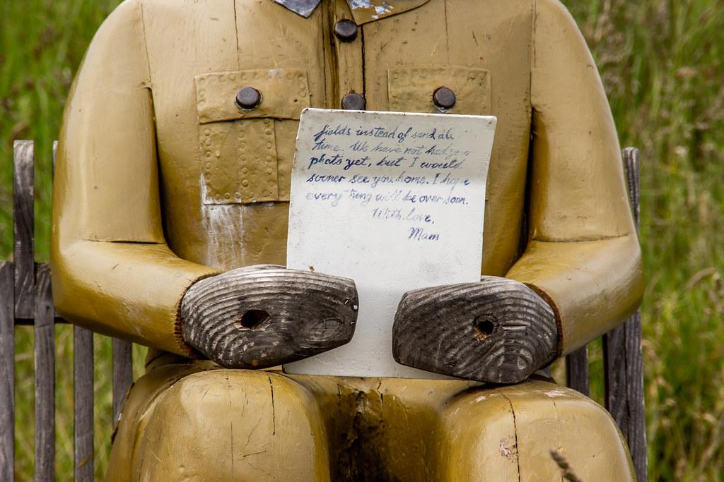 2021 - 06 - 24 - EOS 600D - Letters from Home - WW1 Soldier - Wooden Sculpture - Wales Coast Path - Dee Estuary - Flintshire - 001