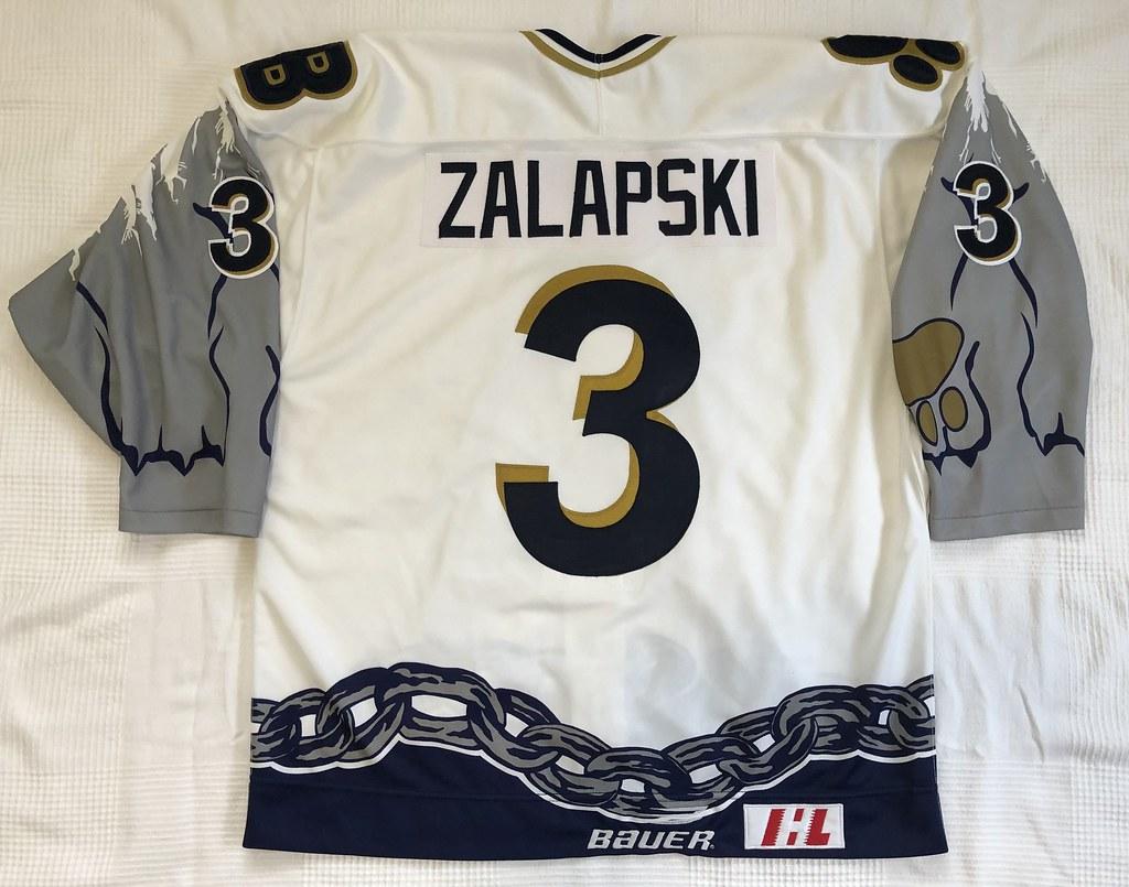 1999-2000 Zarley Zalapski Long Beach Ice Dogs Authentic Home Jersey Back