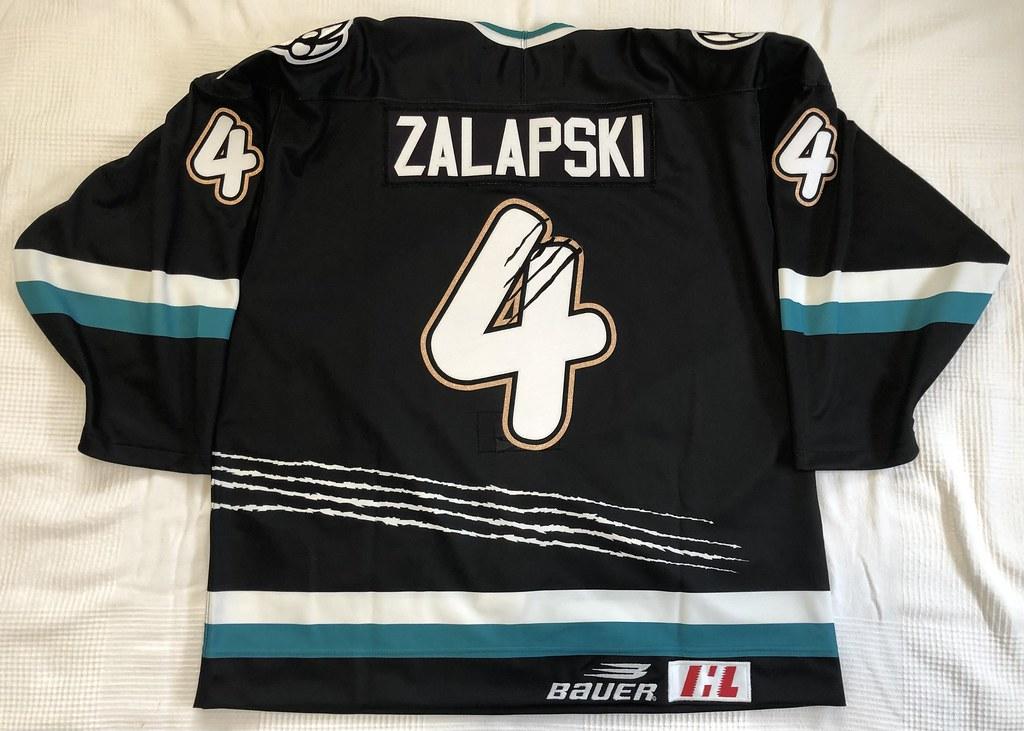 1999-2000 Zarley Zalapski Utah Grizzlies Authentic Away Jersey Back