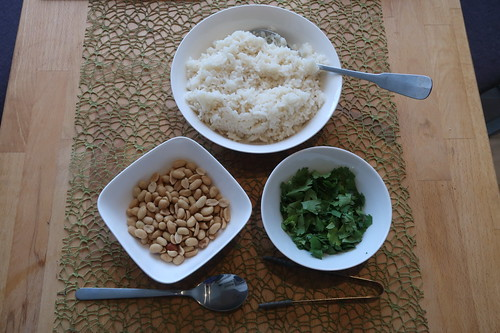 Reis, Erdnüsse und Koriander als Beilagen bzw. Topping