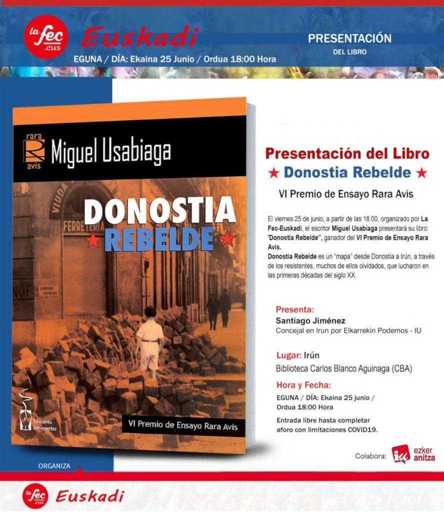 Cartel Presentación libro Donostia Rebelde Irun