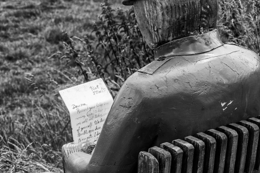 2021 - 06 - 24 - EOS 600D - Letters from Home - WW1 Soldier - Wooden Sculpture - Wales Coast Path - Dee Estuary - Flintshire - 1003