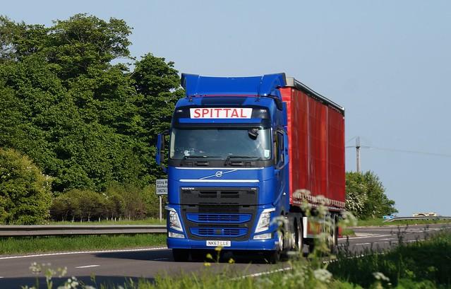 3 DSC08333.  A66 Trucks, Hargill, North Yorkshire. SPITTAL HAULAGE (SCOTLAND) LIMITED, East Ayreshire. VOLVO FH.