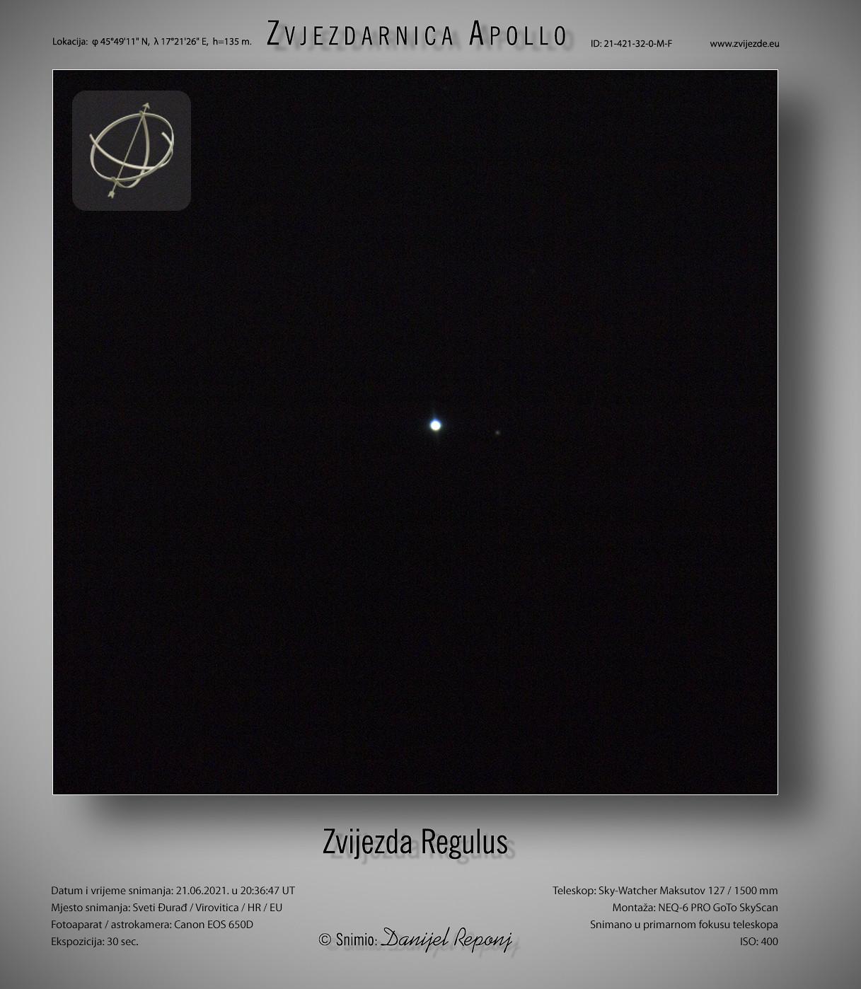 Zvijezda Regulus, 21.6.2021.