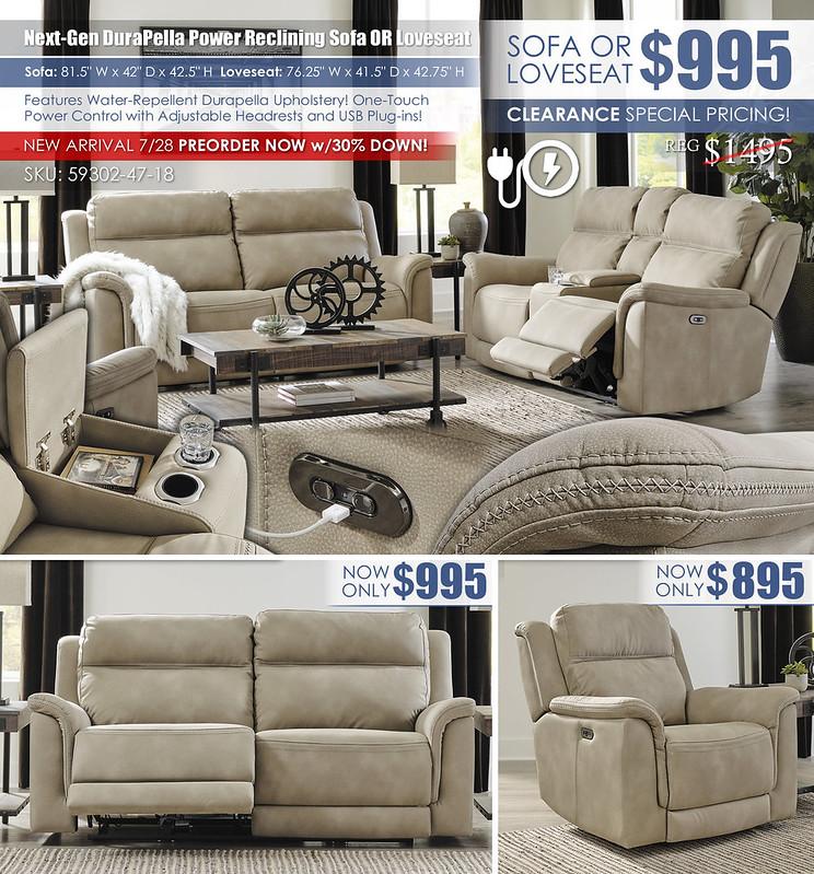 NextGen DuraPella Power Sofa OR Loveseat_59302-47-18-13-T259
