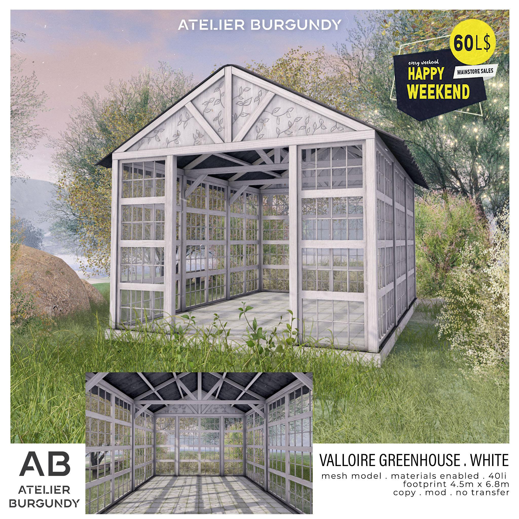 Atelier Burgundy . Valloire Greenhouse White HW