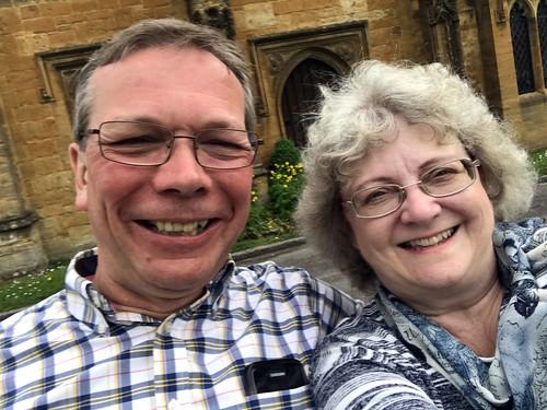 Chilling outside Sherborne Abbey