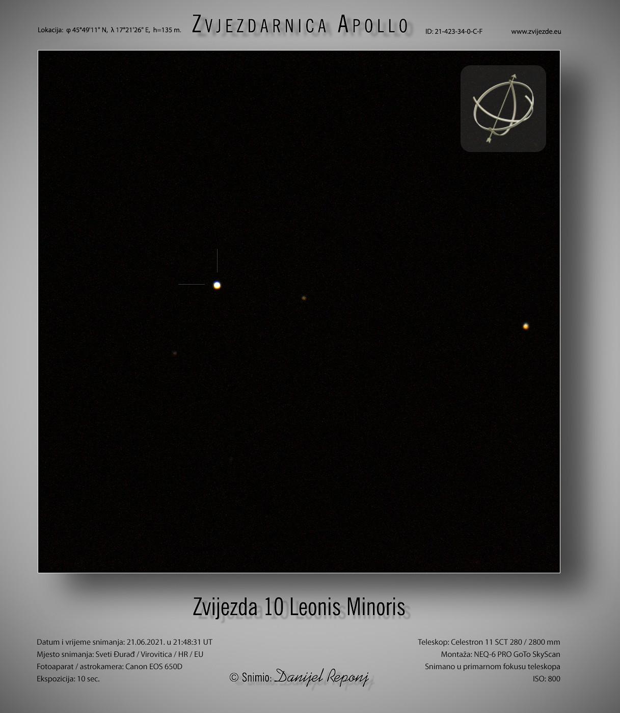Zvijezda 10 Leonis Minoris, 21.6.2021.