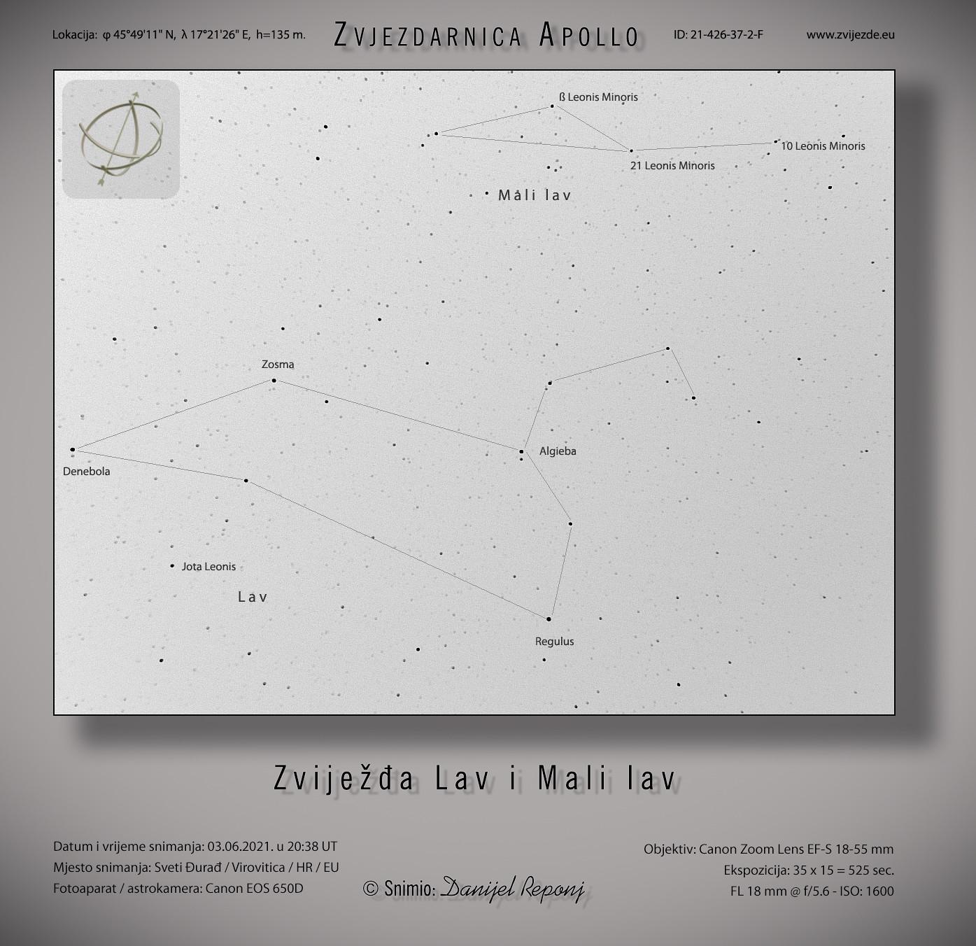 Zviježđa Lav i Mali lav, 3.6.2021.