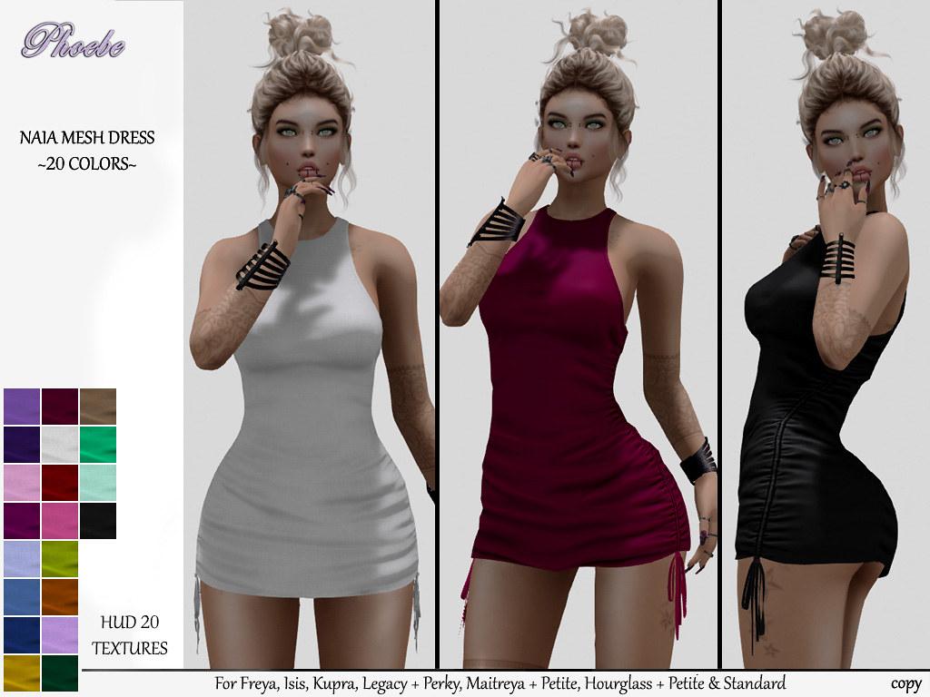 55L OFFER! *P* Naia Mesh Dress ~20 Colors HUD~