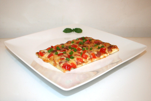 16 - Pizza with salami, bacon, onion & pepper - Side view / Pizza mit Salami, Speck, Zwiebel & Paprika - Seitenansicht