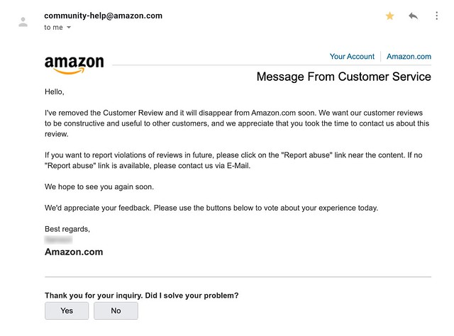Amazon Negative Product Review Removal