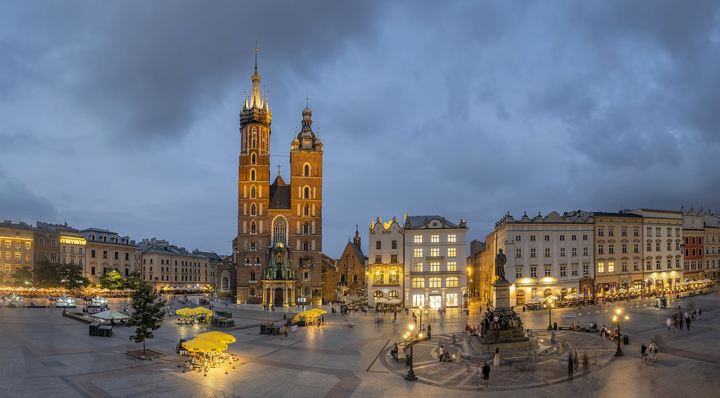 Blue Hour Main Market Square in Kraków, Poland