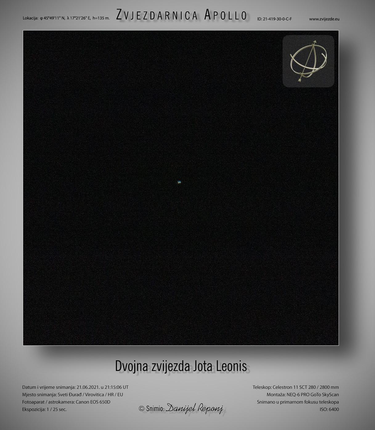 Zvijezda Jota Leonis, 21.6.2021.
