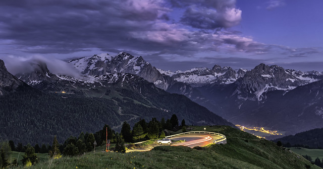 Dolomites...evening on Passo Sella...