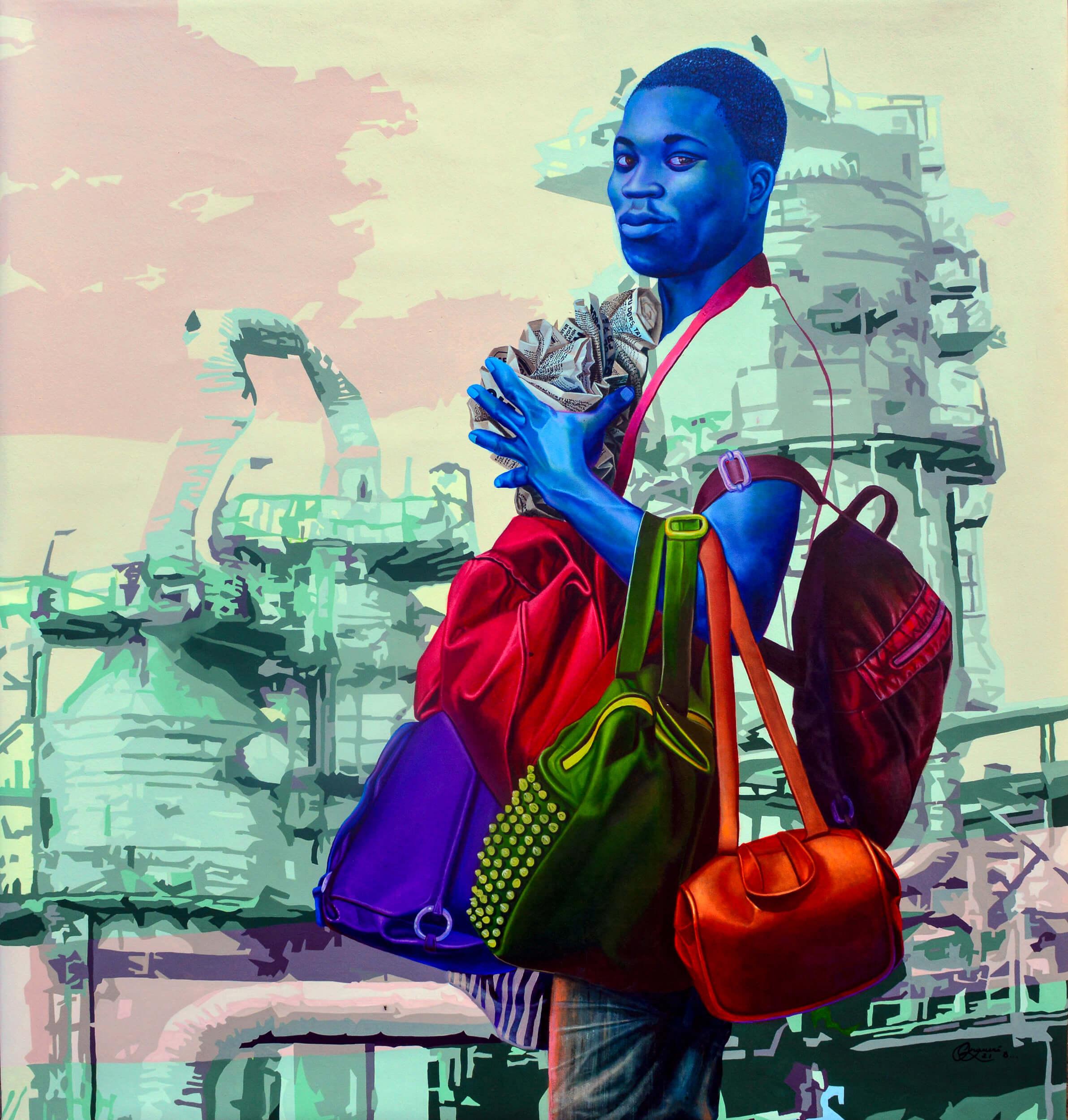 artsy-Daniel Onguene - The brave and the white elephant - 2021 - 120cm H x 110cm W - Acrylic on canvas -2105