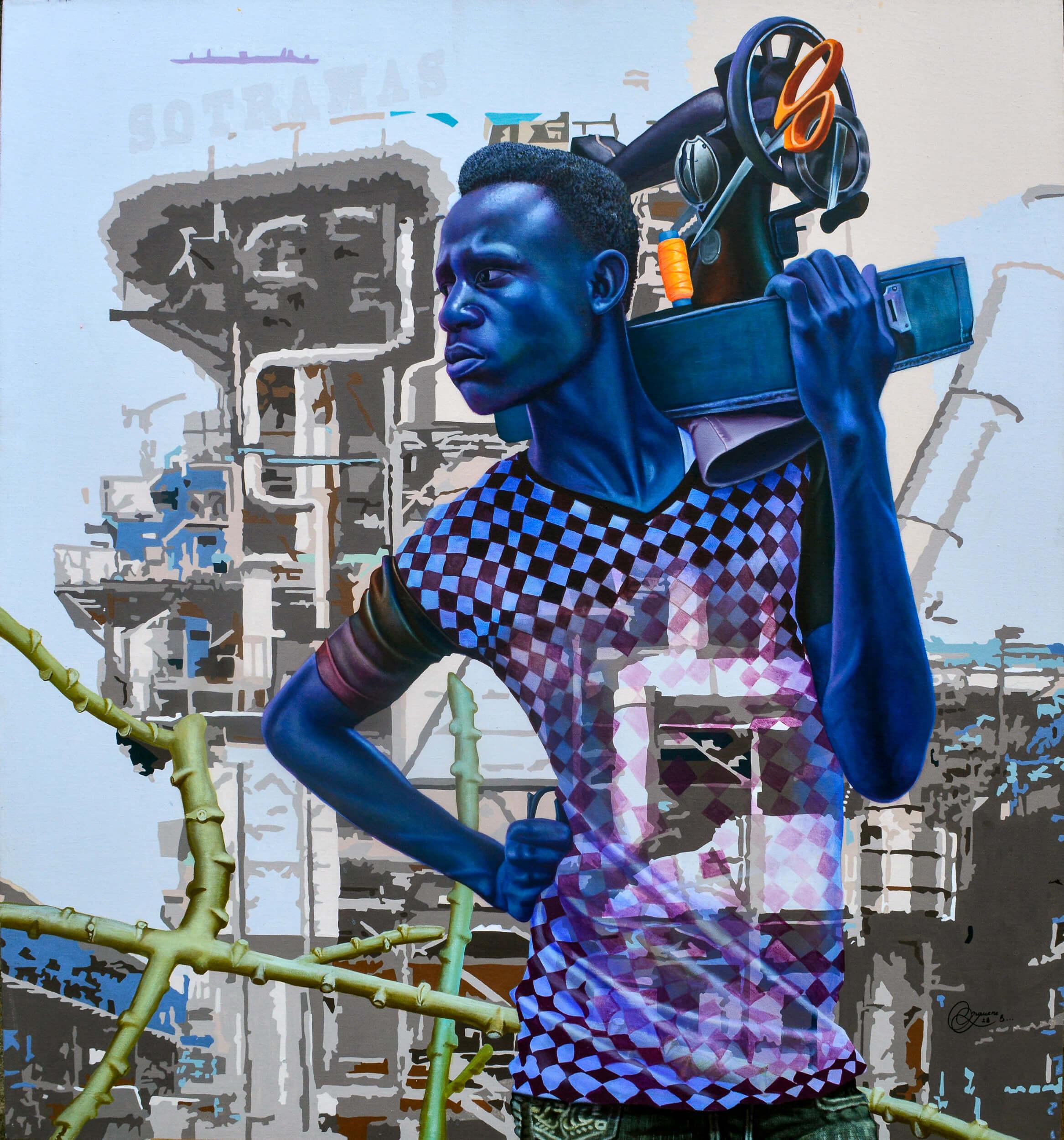 artsy-Daniel Onguene - Sotramas - 2021 - 120cm H x 110cm W - Acrylic on canvas -2105