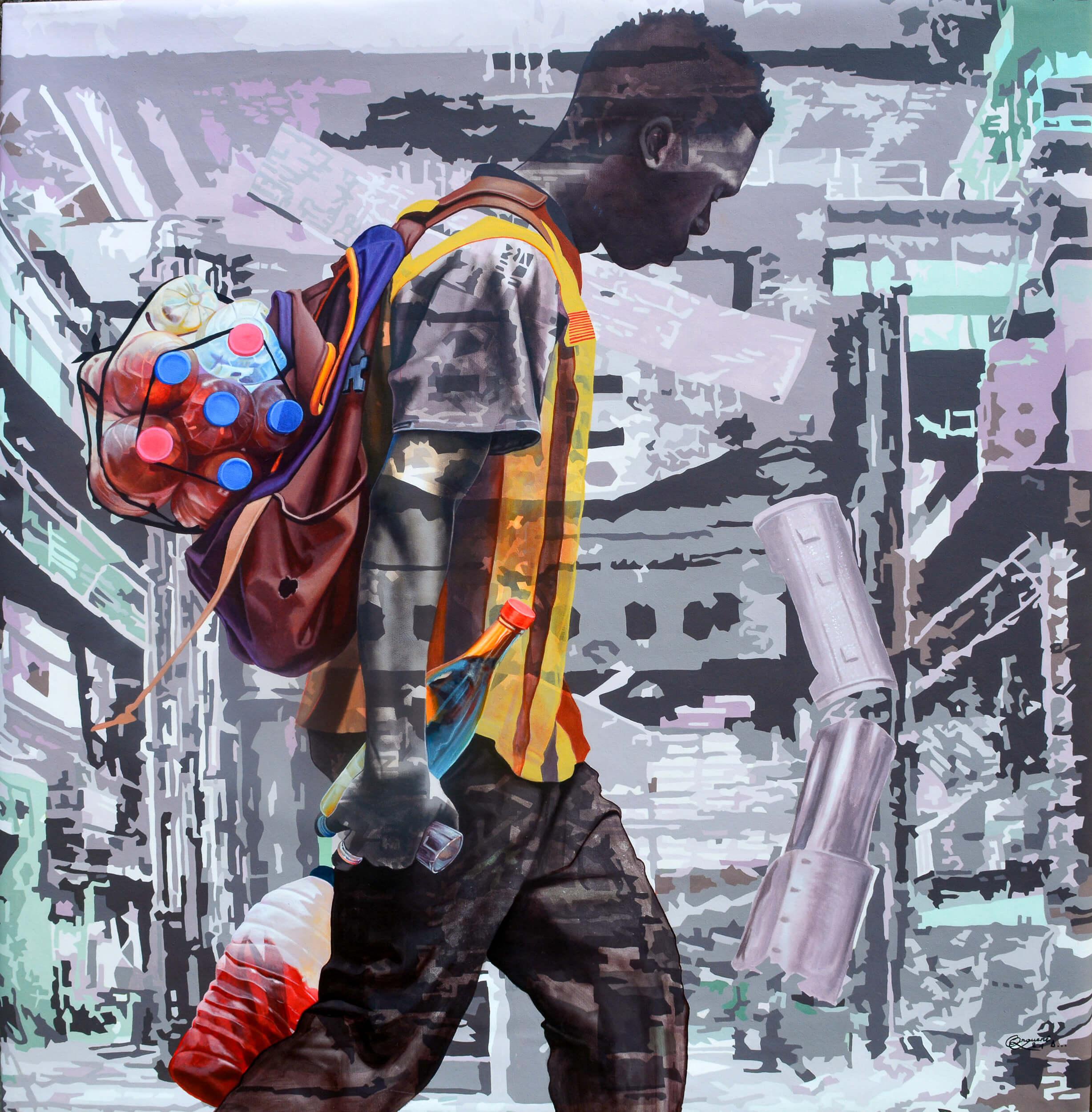 artsy-Daniel Onguene - Kin-Kin - 120cm H x 110cm W - Acrylic on canvas -2105