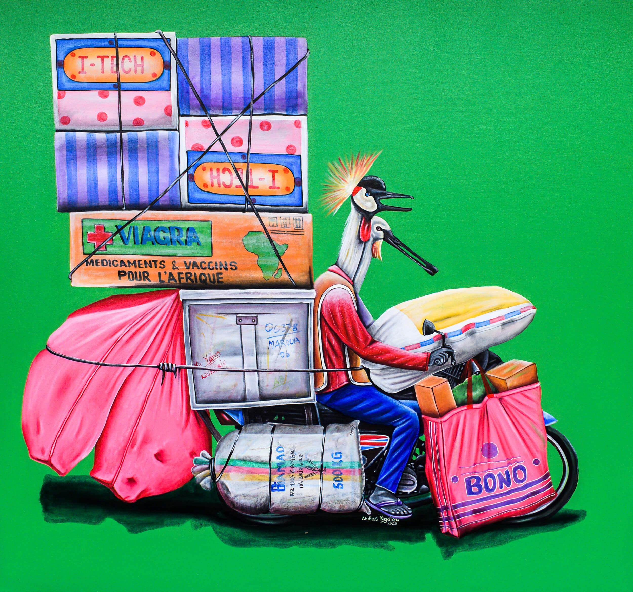 artsy-Abdias Ngateu - Le coursier 2 - 2021 - 120cm H x 130cm W - Acrylic on canvas - Courtesy by OOA Gallery-Modifier-2102
