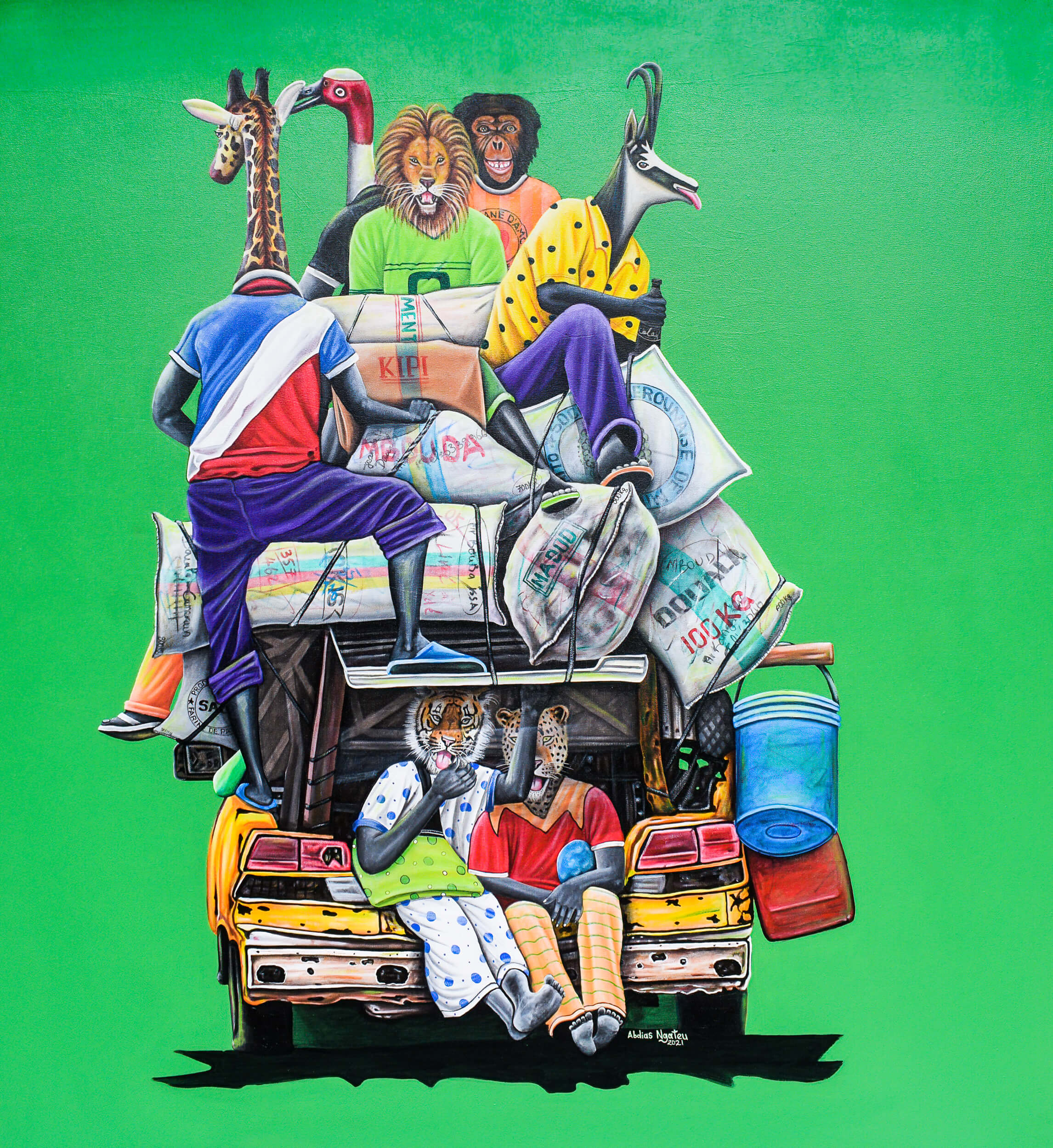 artsy-Abdias Ngateu - l'Opep - 2021 - 150cm H x 140cm W - Acrylic on canvas - Courtesy by OOA Gallery-Modifier-2103