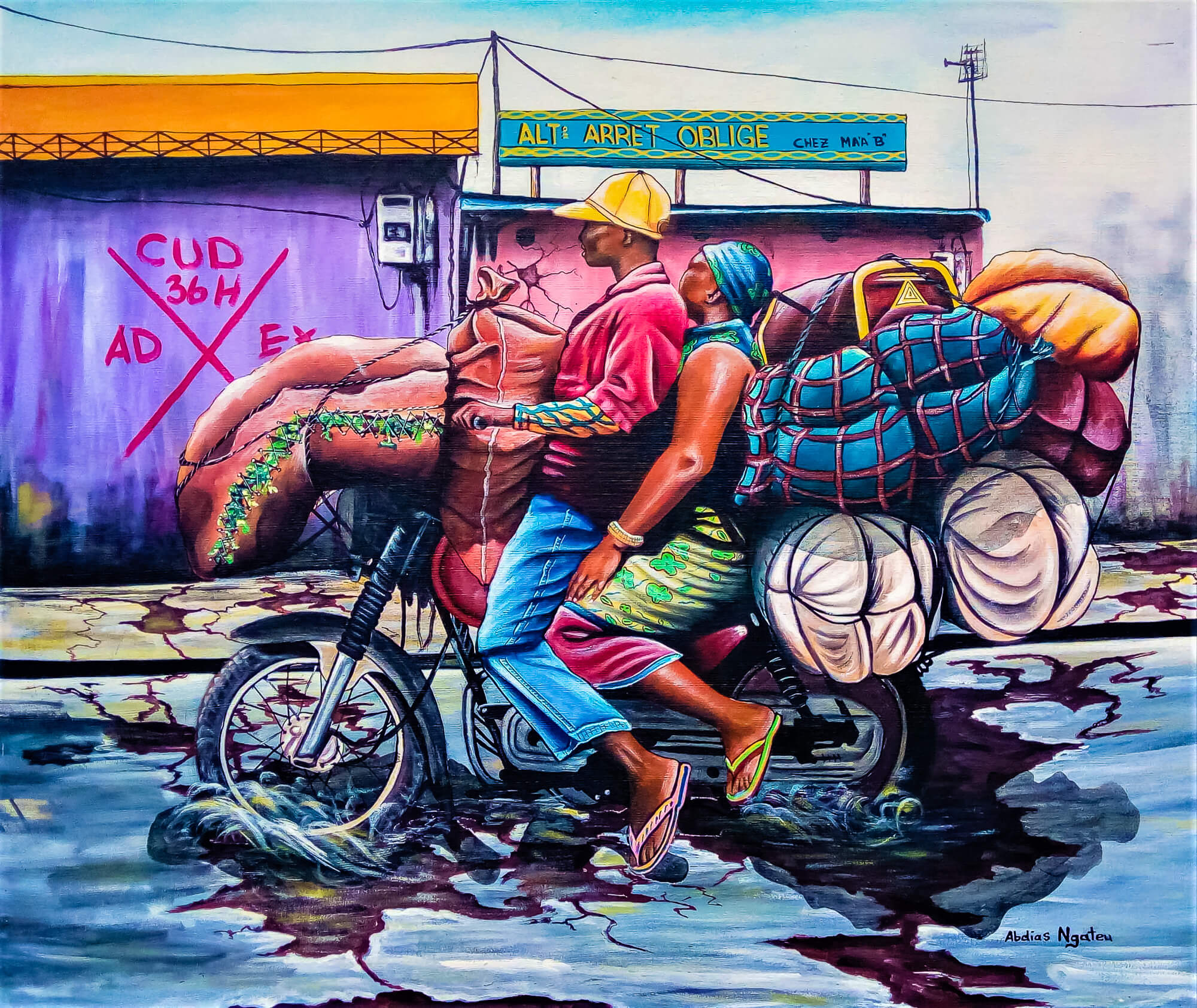 Abdias Ngateu - A toute vitesse - Acrylic on canvas