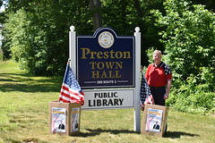 """State Representative Mike France's Memorial Day tradition of collecting used and worn American flags for proper disposal was once again a huge success thanks to constituents who dropped more than a dozen flags in boxes provided at the Ledyard and Preston Town Hall buildings.  According to the U.S. Flag Code, when the American flag is in such condition that it is no longer a fitting emblem for display, it should be destroyed in a dignified way, preferably by a controlled burning ceremony.  """"Each of these American flags was flown or hung proudly in honor of our great nation and it's important that we treat these symbols with dignity and respect, including when they are being retired from service,"""" Rep. France, a U.S. Navy veteran said. """"It is an honor to make sure they are disposed of properly and in a dignified manner befitting their status."""""""