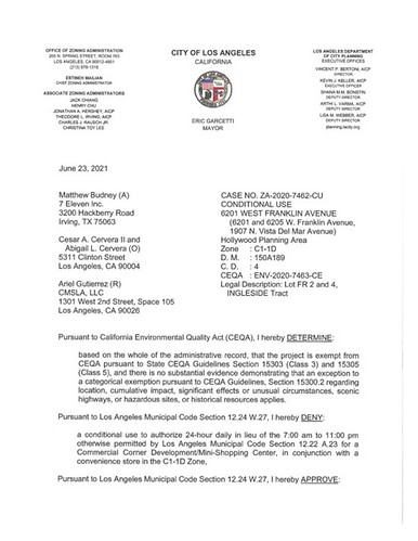 LA City Planning Zoning Administrator Decision