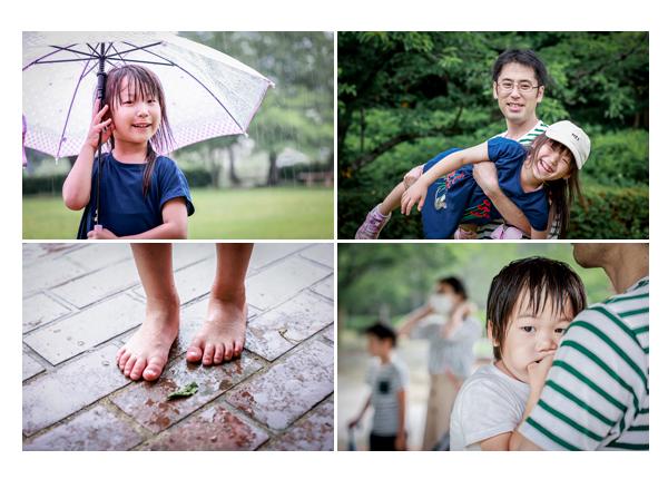 雨の日の家族写真撮影会 傘 裸足