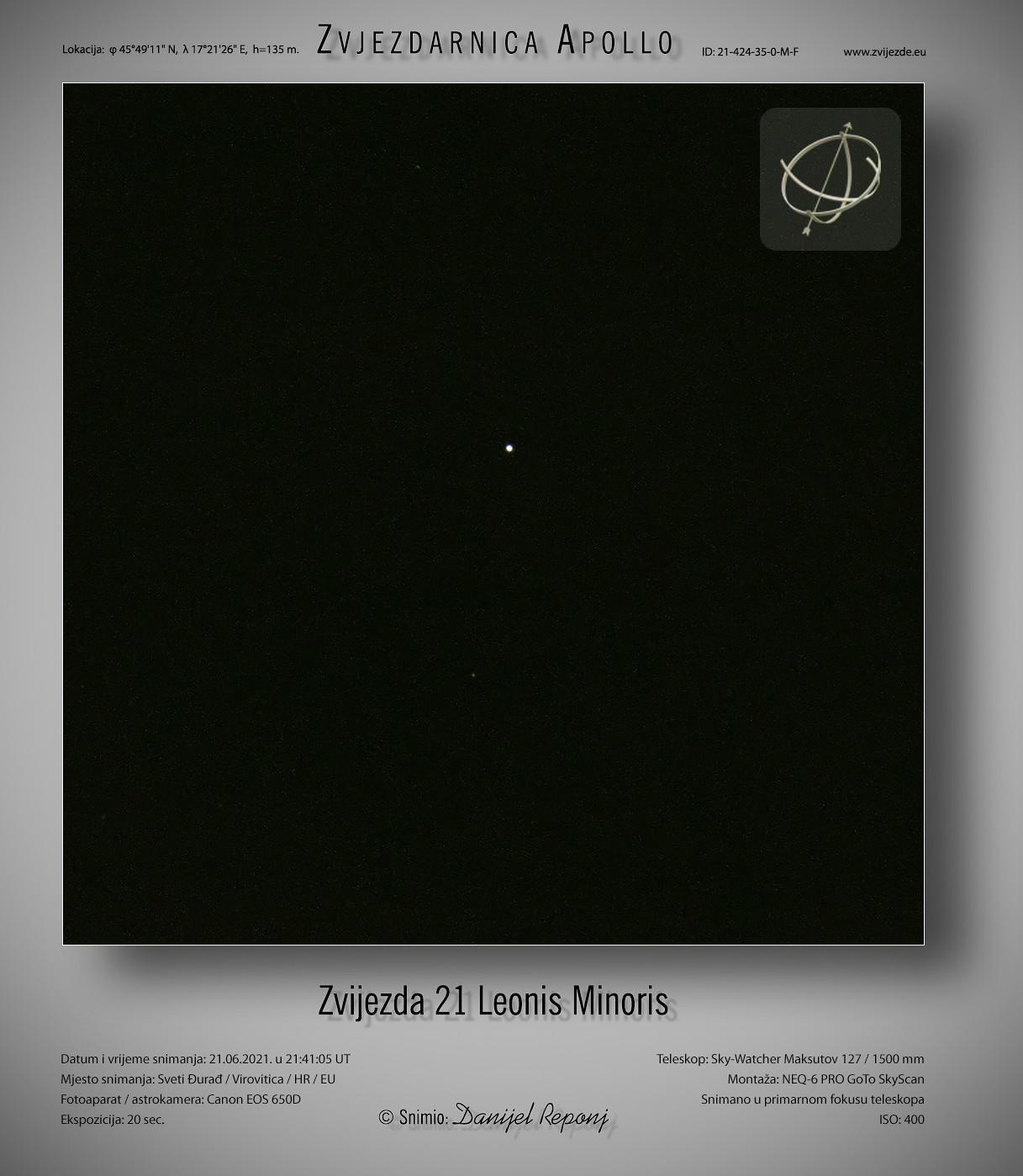Zvijezda 21 Leonis Minoris, 21.6.2021.