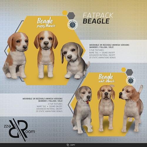 [Rezz Room] Beagle Adult Animesh (Companion) and [Rezz Room] Beagle Puppy Animesh (Companion)