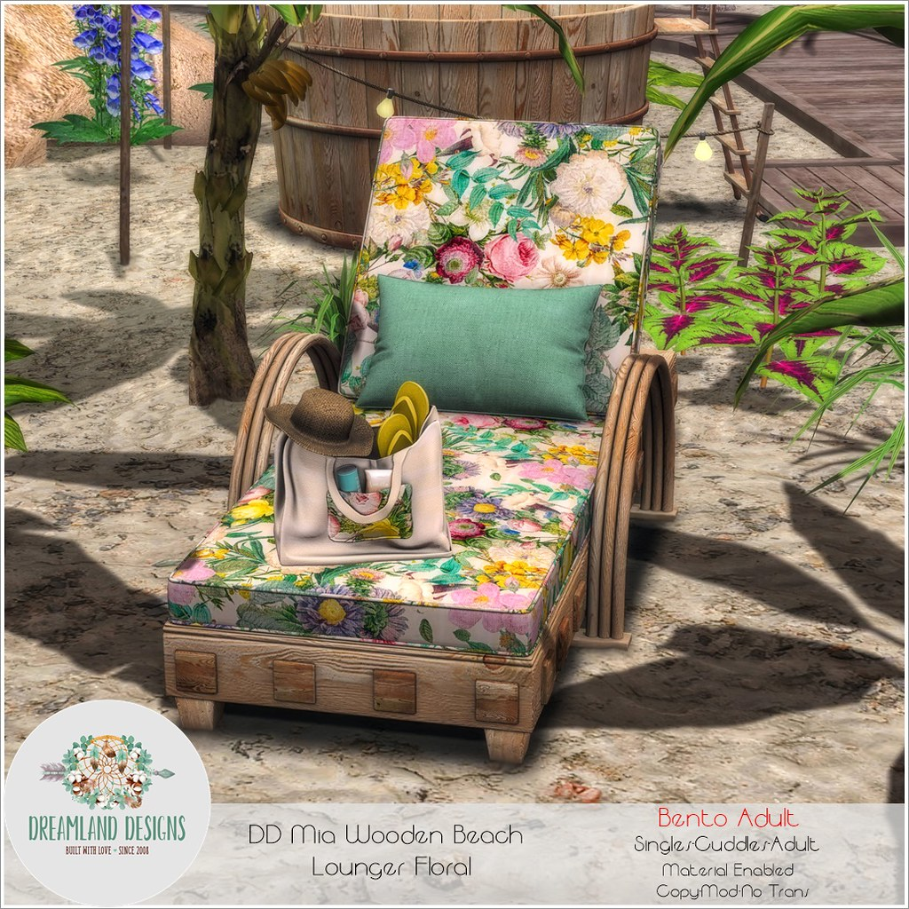 DD Mia Wooden Beach Lounger Floral-Adult