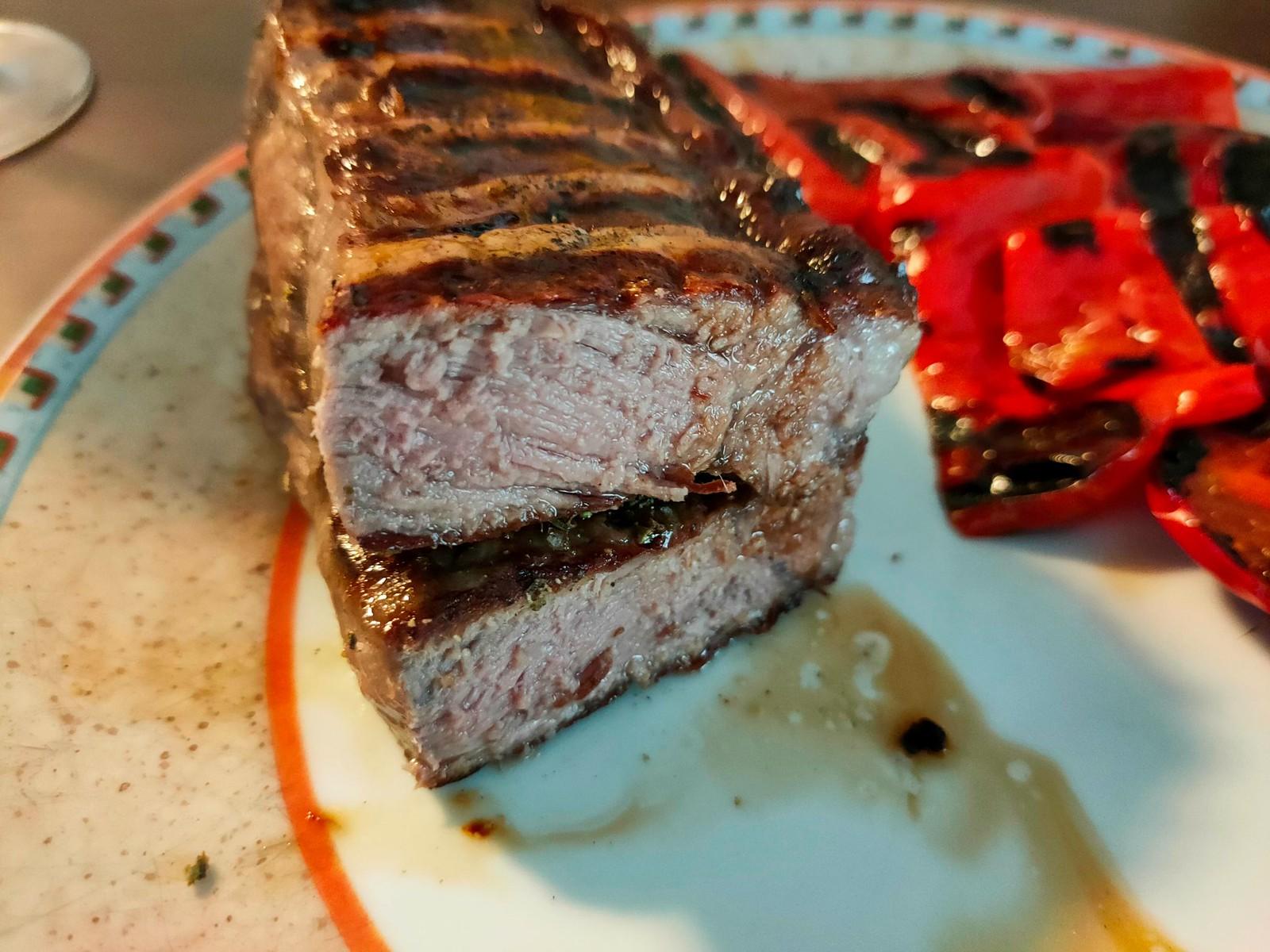 Schottisches Ochsen-Roastbeef (etwas zu lange gewartet) und Spitzpaprika - Grillen mit dem Tefal Optigrill Elite XL