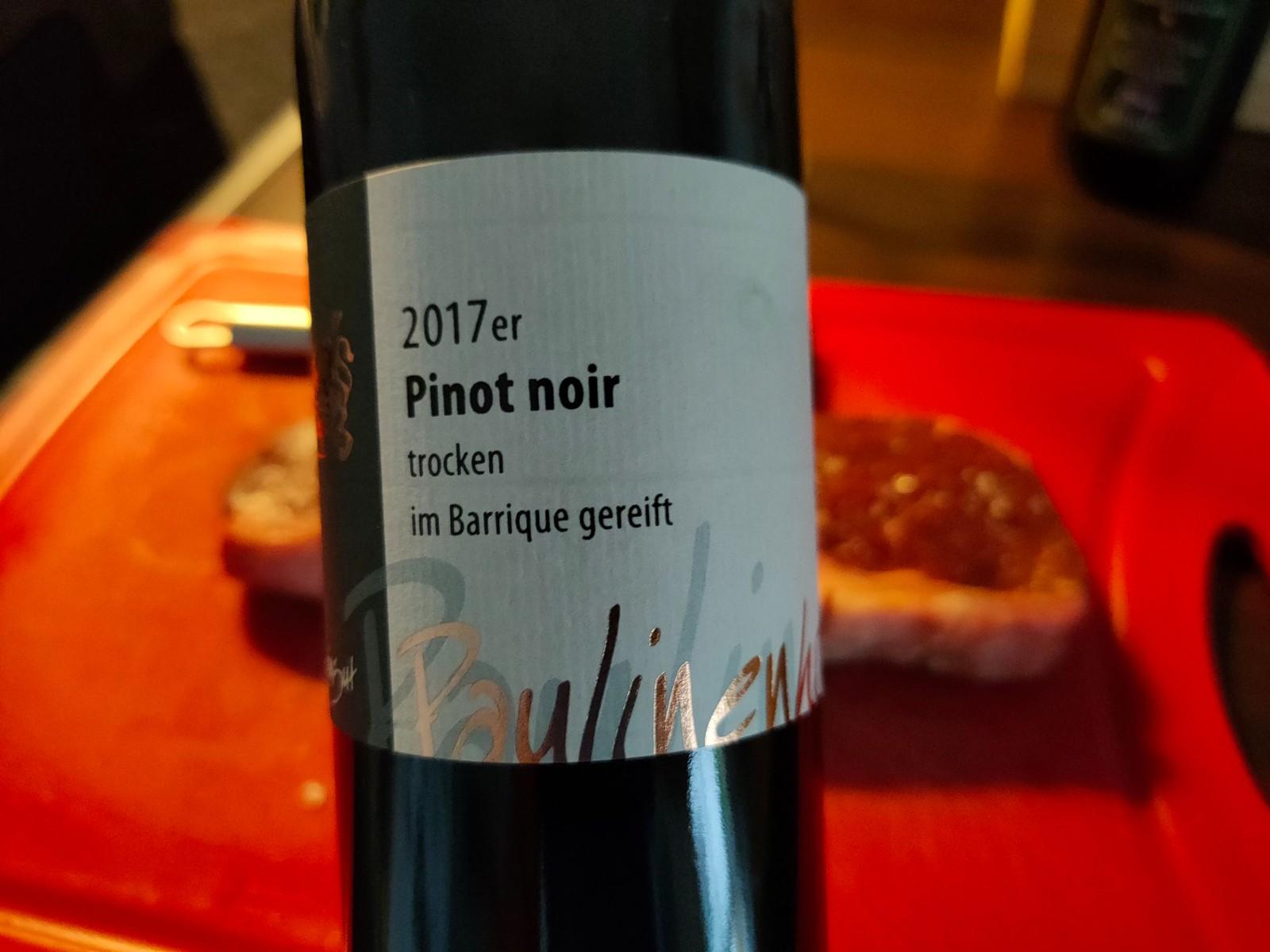 2017er Pinot noir trocken, im Barrique gereift - vom Weingut Paulinenhof in Selzen