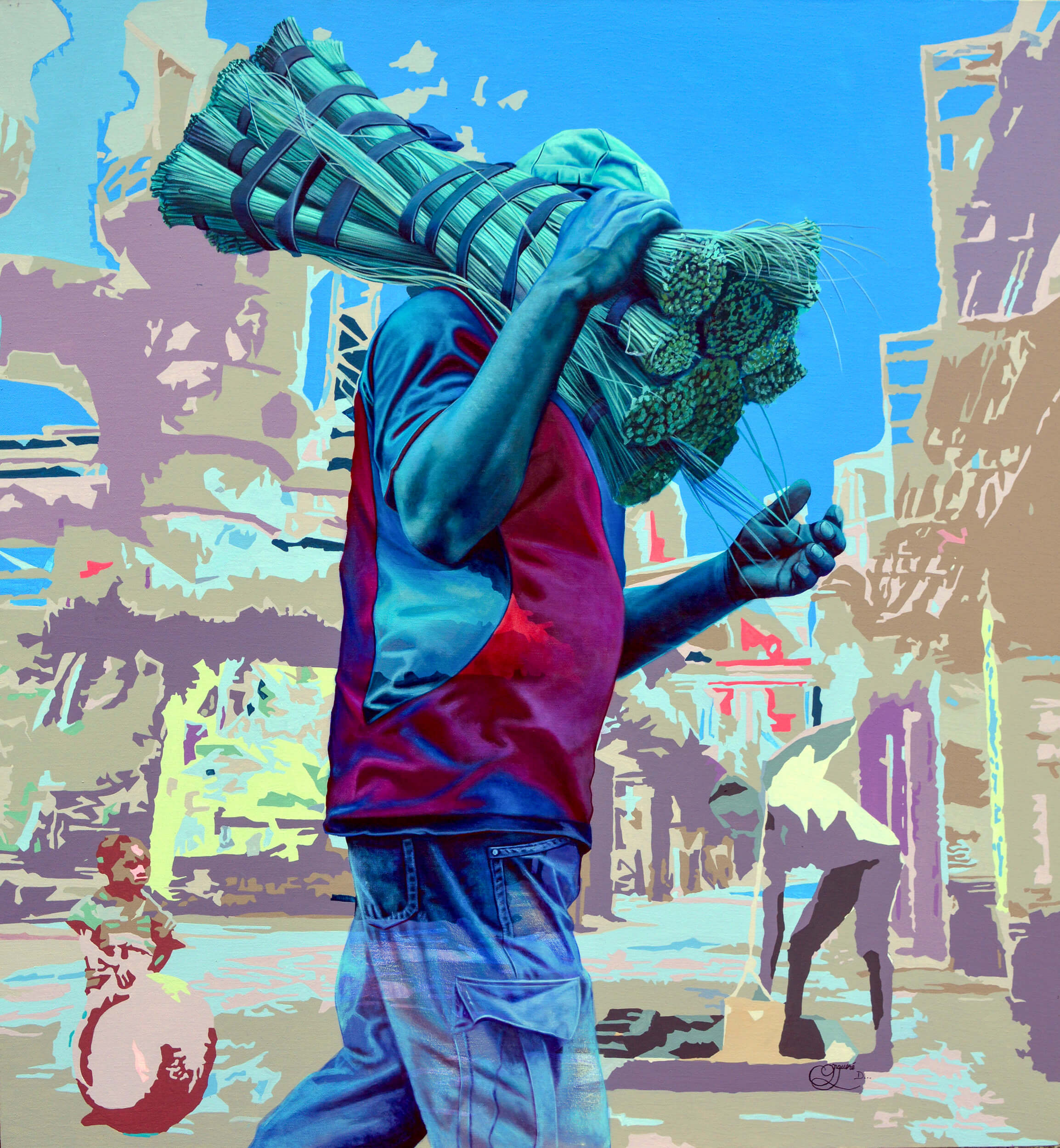 artsy-Daniel Onguene - Passage de Balais - 2020- 120cm H x 110cm W - Acrylic on canvas - Courtesy by OOA Gallery-2010
