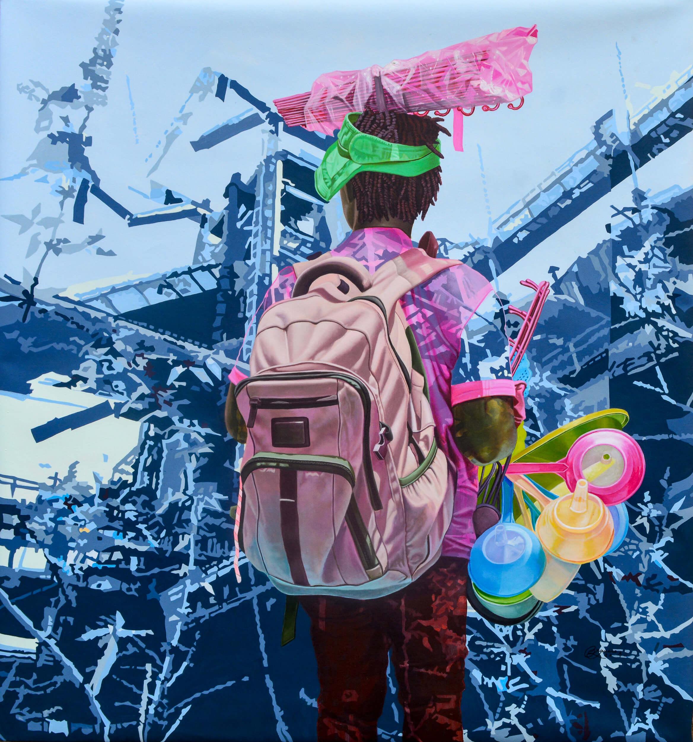artsy-Daniel Onguene - Au coeur de la friche - 2021 - 120cm H x 110cm W - Acrylic on canvas-2105