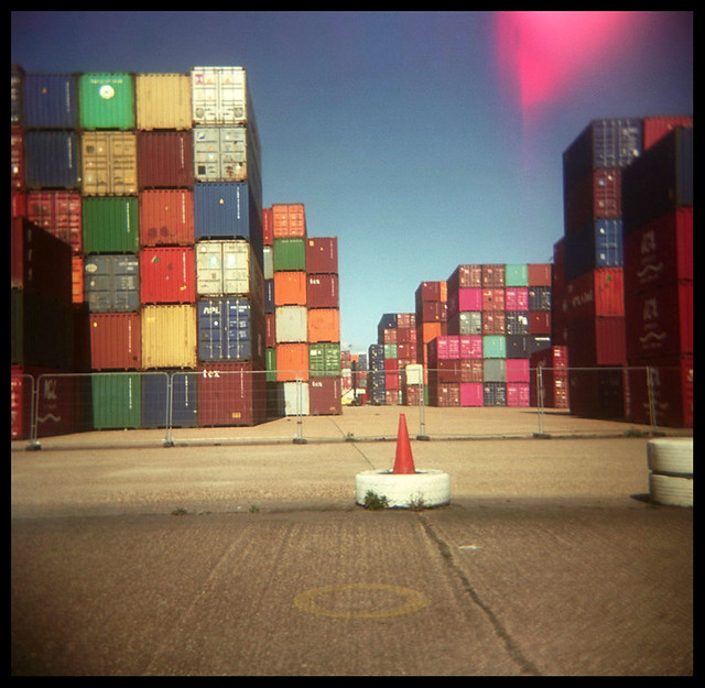 A Holga view of the same containers at Southampton Docks