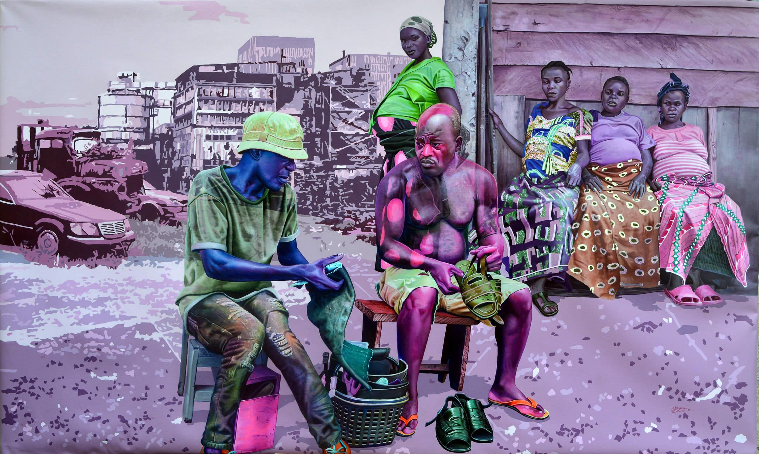 artsy-Daniel Onguene - La vie après la chute - 2021 - 120cm H x 200cm W - Acrylic on canvas -2105