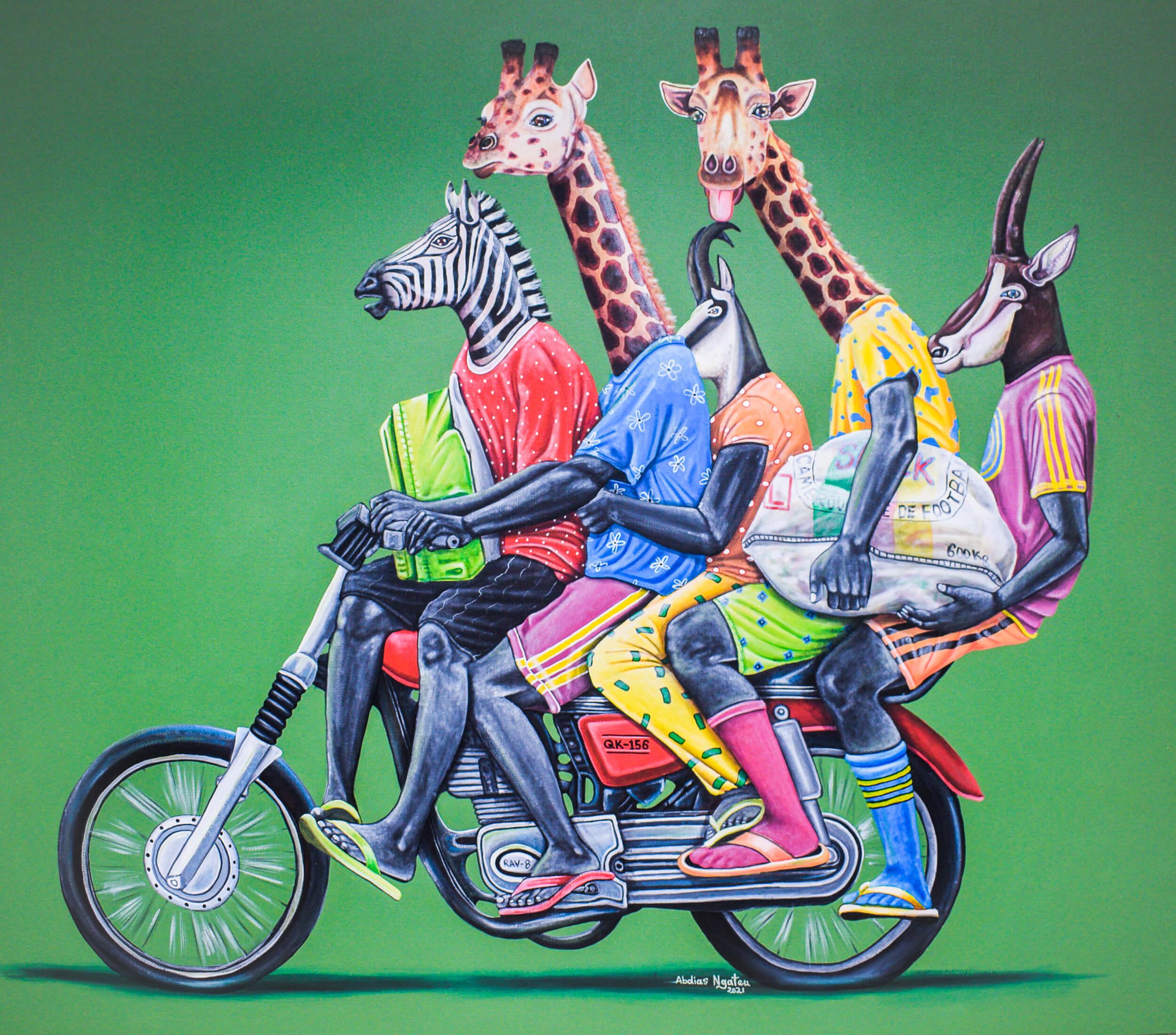 artsy-Abdias Ngateu - Le dimanche matin - 2021 - 120cm H x 140cm W - Acrylic on canvas-2105