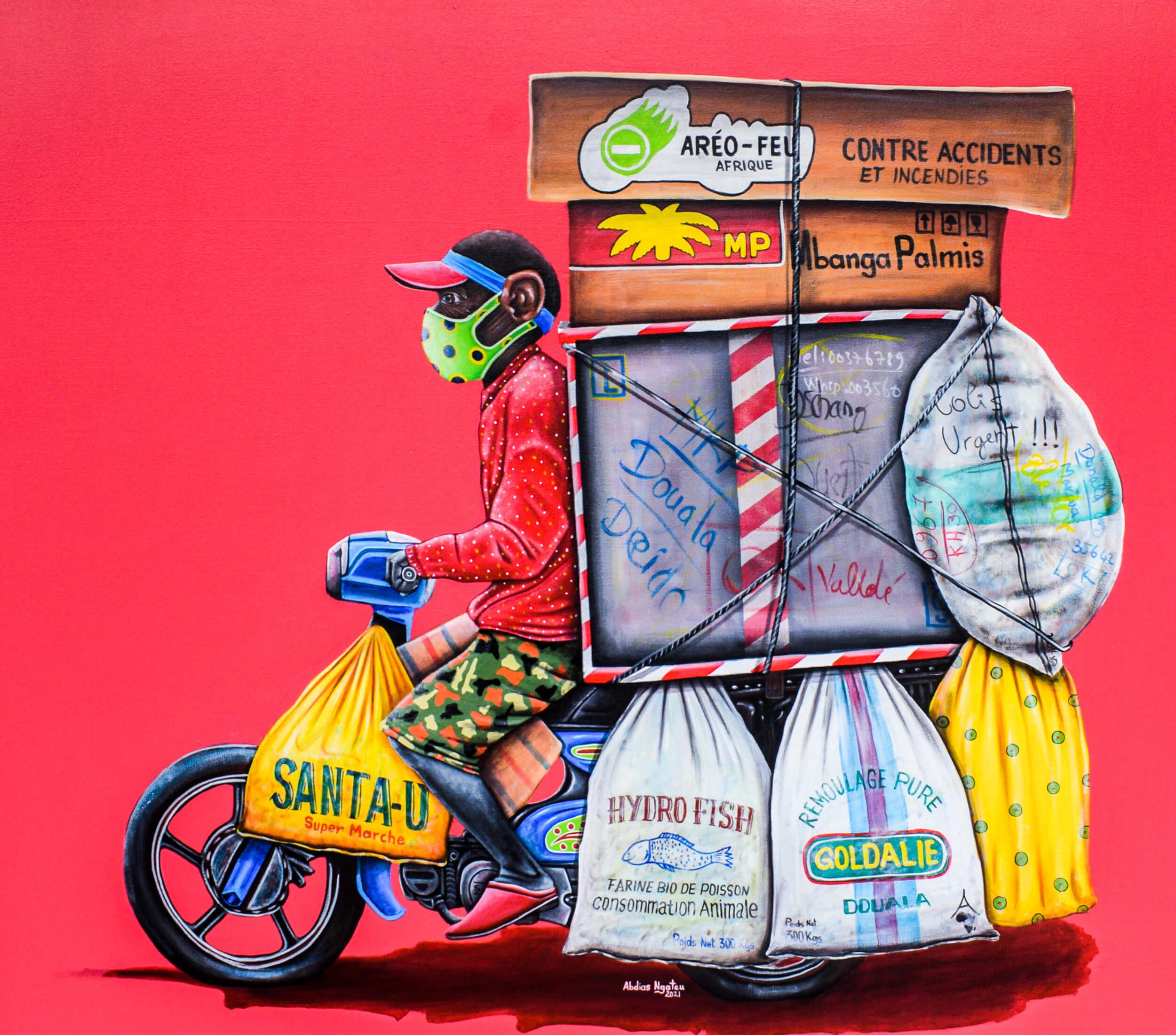 artsy-Abdias Ngateu - Le coursier 3 - 2021 - 120cm H x 130cm W - Acrylic on canvas-2105