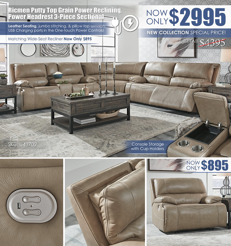 Ricmen Putty Reclining 3-PC Sectional Special_U43702_June2021